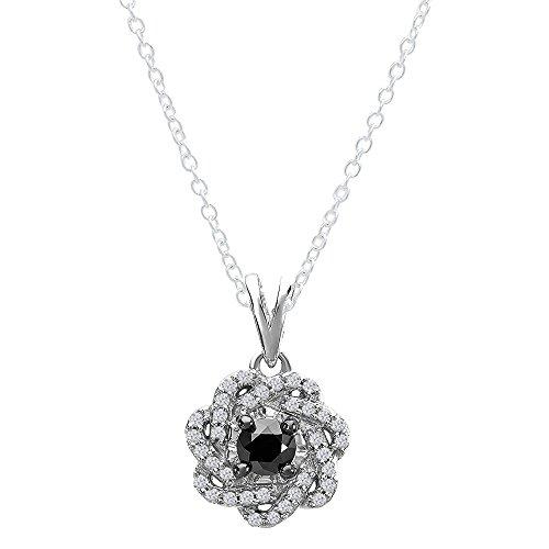Dazzlingrock Collection 0.64 Carat (ctw) Black & White Diamonds Swirl Pendant (Silver Chain Included), Sterling Silver