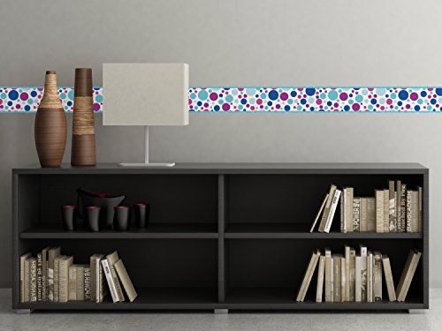 Polka Dot Border Fabric Wall Decal - Icy - Set Of Two 25