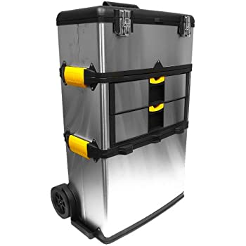 Stalwart 75-7577 Massive and Mobile 3-part Stainless Steel Tool Box