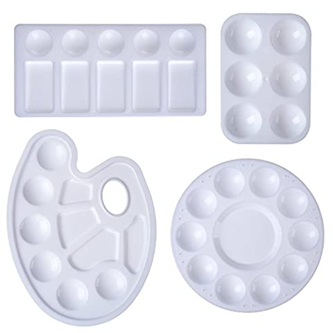 eBoot 4 Pieces Plastic Paint Tray Palettes, 4 Styles, White