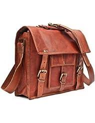 Handmadecraft Vintage Look Leather Laptop Messenger Briefcase Satchel Bag (13)
