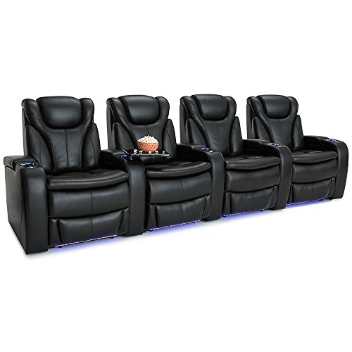 Barcalounger Solaris Leather Power Recline Home Theater Seating Chairs (Row of 4, Black) by BarcaLounger