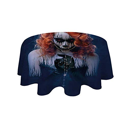 YOLIYANA Queen Waterproof Round Tablecloth,Queen of Death Scary Body Art Halloween Evil Face Bizarre Make Up Zombie for Living Room,23.6