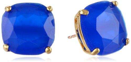 blue square stud earrings - 2