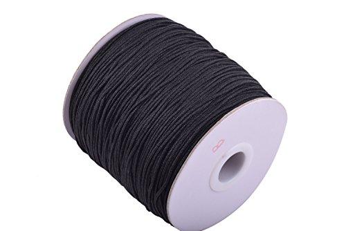 KONMAY 1 Roll 175yd Braided 1.5mm Nylon Shamballa MacramÃ/beading Cord Lift Shade Cord (black 900) by Konmay