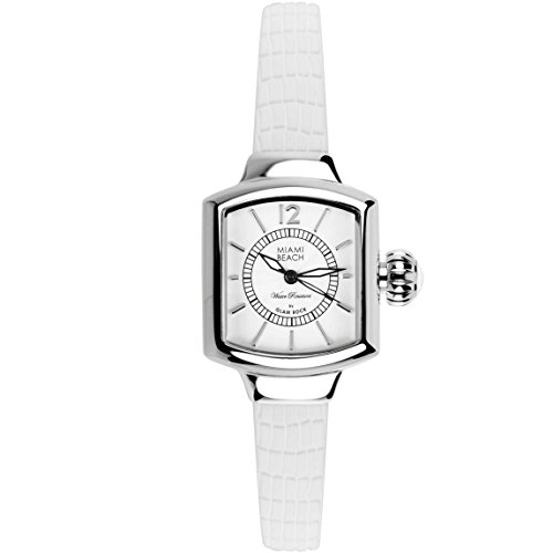 Glam Rock Miami Beach Art Deco collection MBD27220 Stainless Steel Case White Silicone Mineral Women's Watch