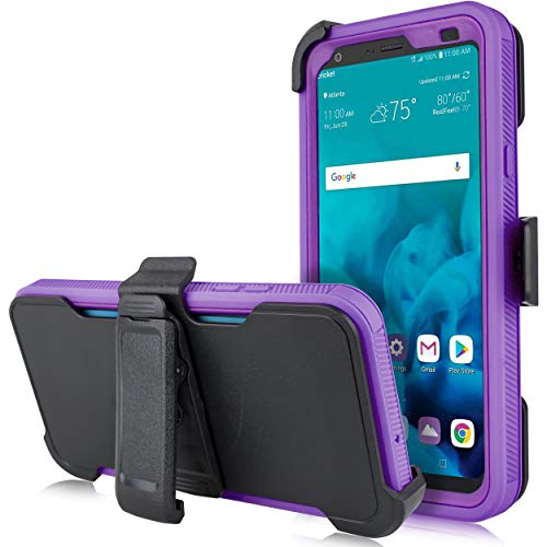 for LG Stylo 4, LG Stylus 4, LG Q Stylo 4 (Q710) 2018 (Metro PCS, T-Mobile, Cricket etc) [Four Layered Protection] Heavy Duty Defender Holster Armor Case with Built in Screen Protector (Purple) (Purple Otterbox Iphone 4)