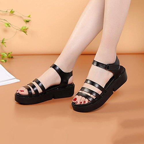 LIXIONG Portátil 5cm Sandalias de estudiante de verano femenino Sandalias gruesas (blanco / negro) -Zapatos de moda ( Color : Negro , Tamaño : EU39/UK6/CN39 ) Negro
