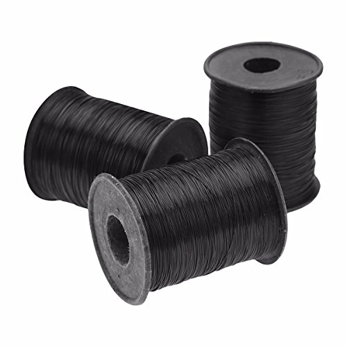 FEESHOW 3 Rolls 0.25mm Diameter Nylon Fishing Line Beading Thread Sewing Cord Kite String Black one size