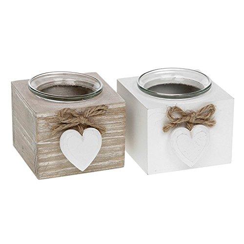 Shudehill Gifts Portacandele con decorazione a forma di cuore, stile shabby chic provenzale, confezione da 2 32005