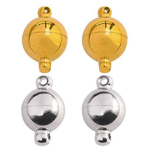 (Tiparts Strong Magnetic Jewelry Clasps Stainless Steel Round Ball Magnetic Clasps for Bracelet Necklace Jewelry Making 18k Gold and Silver Tone 10mm x 15mm,4 Sets)