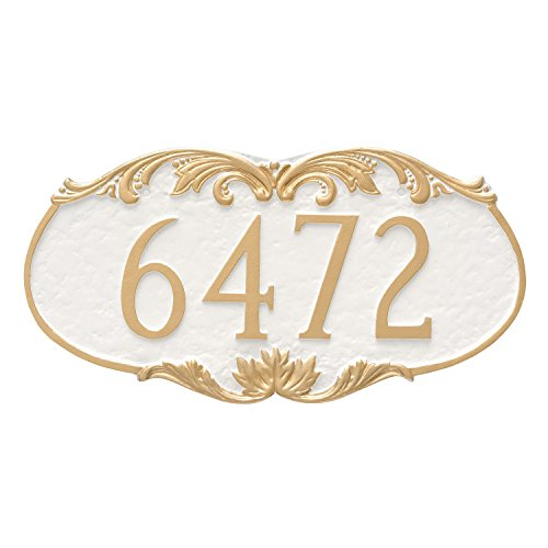 "Montague Metal Charleston Address Sign Plaque, 8.5"" x 16"", Sand/Silver"