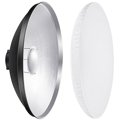 Neewer 16 inches/41 centimeters Aluminum Standard Reflector Beauty Dish with White Diffuser Sock for Bowens Mount Studio Strobe Flash Light Like Neewer Vision 4 VC-400HS VC-300HH VC-300HHLR VE-300 by Neewer