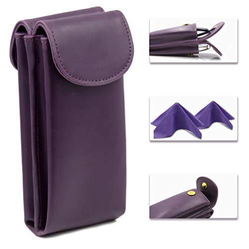 Double Eyeglass Case for 2 Glasses frames, Semi Soft eyeglass case with magnetic closure | Double Eyeglass case with 2 microfiber cleaning cloths (IP836 Purple)