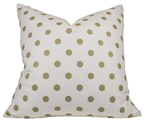 Athena Throw Pillow (Gold Metallic Dot - Premier Prints Polka Dot Athena Gold Pillow Cover - 20 Different Sizes - Invisible Bottom Zipper)