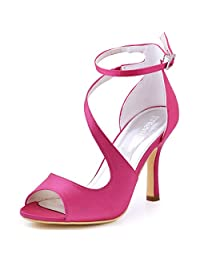 Elegantpark HP1505 Women's Open Toe Rhinestones Ankle Buckle High Heel Sandal Satin Eveing Party Shoes