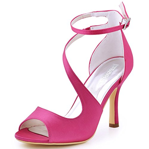 Ankle Strap Peep Toe Heels - ElegantPark HP1565 Women's Peep Toe High Heels Ankle Strap Buckle Satin Wedding Evening Dress Sandals Hot Pink US 5.5