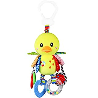 Hcomine Baby Toy, Clip on Pram and Pushchair Toy, Soft Cuddly Newborn Baby Toy Duck, Ideal for New Parents, Suitable for Babies Boys and Girls (Bob in Little Duck)