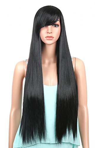 LOUISE MAELYS Black Wig Long Straight Anime Cosplay Hair Extensions with (Long Black Wig Costume Ideas)