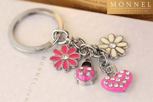 Z31 Cute alloy metal keyring key chain Ladybug & Lily Flowers
