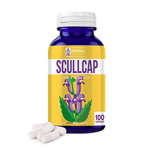 Organic Scullcap Capsules by Ahana Nutrition - Scullcap Herb for Anti Anxiety, Mood Support, Inflammation Relief, Nervous System Support and Detox (425mg - 100 Easy to Swallow Capsules)