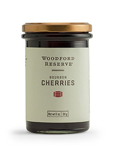 "BOURBON BARREL FOODS WOODFORD RESERVE BOURBON CHERRIES WRCC 1 Muddle, garnish, and top your favorite cocktails with Woodford Reserve Bourbon Cherries Made from natural ingredients, these cherries bring a brightness along with hints of Kentucky's finest bourbon to recipes Refrigerate after opening. Net weight 11 oz (311g) ; Measures 2.8"" l x 2.8"" w x 4.5"" h"
