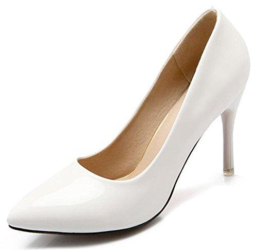 Idifu Donna Elegante Scarpe A Punta Chiusa A Punta Tacco Alto Pompe Slip Top Slip On Scarpe Da Sposa Bianco