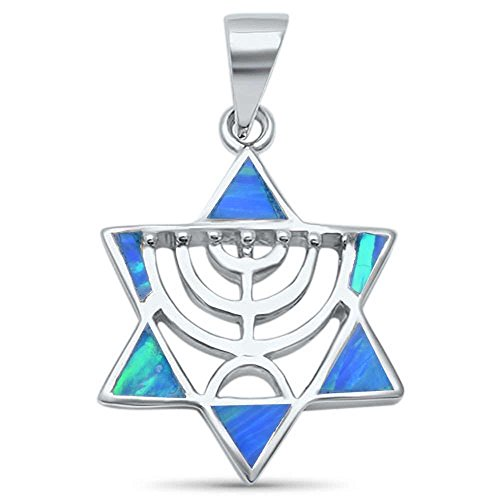 Oxford Diamond Co Sterling Silver Lab Created Opal Minorah Jewish Star of David Pendant Colors Available (Lab Created Blue Opal)