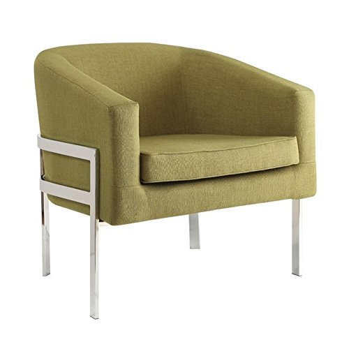 Coaster 902531-CO Accent Seating 31″ Accent Chair with Exposed Metal Frame Sloping Track Arms Curved Barrel Back and Linen-Like Fabric Upholstery, In Green Review