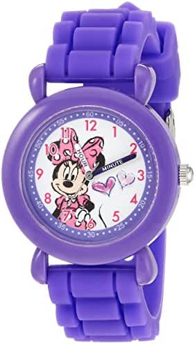 Disney Girl's 'Minnie Mouse' Quartz Plastic and Silicone Casual Watch, Color:Purple (Model: WDS000137)