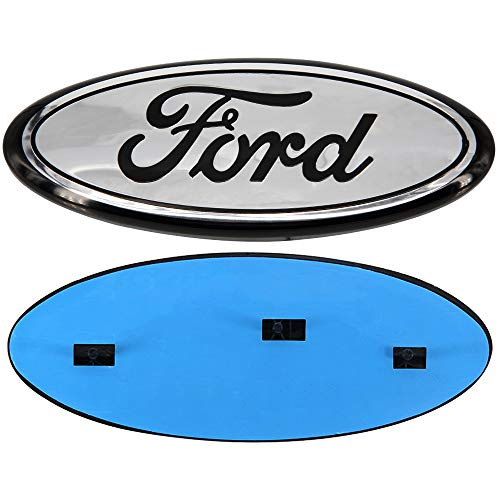 Guzetop 9inch Front Tailgate Emblem,Oval Decal Badge Nameplate for Ford 04-14 F150 F250 F350, 11-14 Edge, 11-16 Explorer, 06-11 Ranger (Chrome) ()