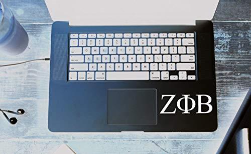 (Richstar17 Zeta Phi Beta Decal Vinyl MacBook Window Bumper Sorority Greek Letters Laptop Sticker (White, 8''x2.8''))