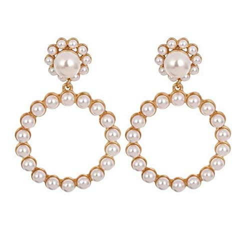 SERAKI Fashion Women Pearl Large Hoop Circle Lady Luxury Drop Dangle Earrings Jewelry (Pearl - Gold)