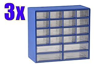 3x Klarsichtmagazin blau 20 Schubladen NEU Kleinteileschrank Schrauben-Magazin
