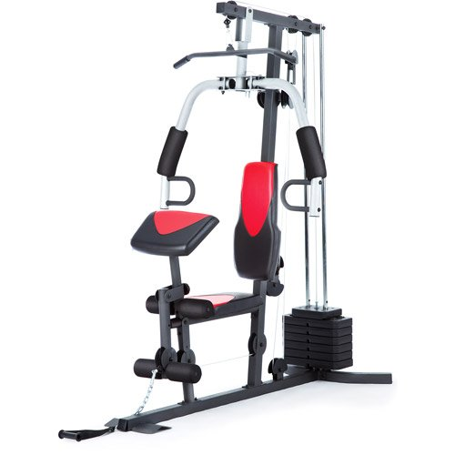 Home Gym Weider 214 lb Stack, 300 lbs, exercise chart, ankle strap, vinyl seats