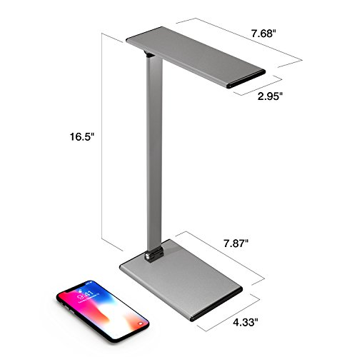 MoKo LED Desk Lamp, 8W Eye-Care Smart Touch Control Table Lamps with Rugged Aluminum Alloy Body, Stepless Adjusted Color Temperature/Brightness Level, Rotatable Arm/Head, Memory Function - Dark Gray by MoKo (Image #5)