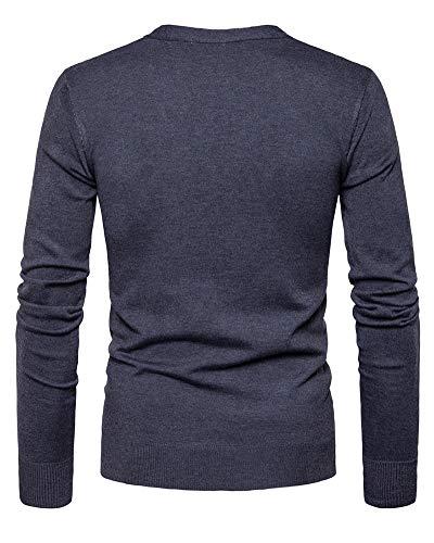 T Lunga Tinta Manica Grigio Felpe Collo Fit Da Giacca Lunghe Uomo Cardigan Scuro shirt Camicette A Maglione Maglia Unita V Slim ZzntqxZH