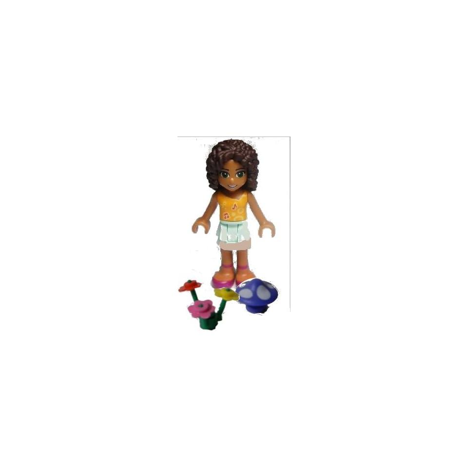 Lego Friends, loose Mini Figure  Andrea, Light Aqua Layered Skirt, Orange Top. (incudes flowers and mushroom colors vary)