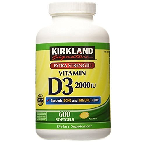 Kirkland Signature Extra Strength Vitamin D3 2000 I.U. 1200 Softgels, Bottle