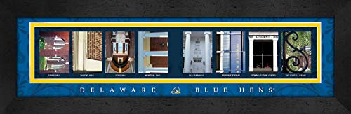 College Campus Letter Art Delaware Blue HENS Bold Print Framed Posters 22x6 Inches