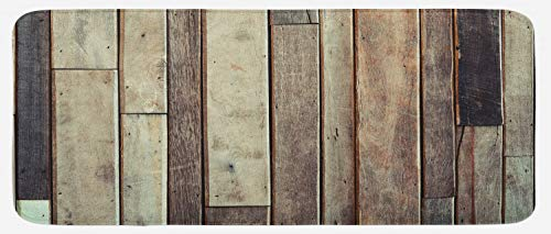 Ambesonne Wooden Kitchen Mat, Antique Planks Flooring Wall Picture American Style Western Rustic Panel Graphic Print, Plush Decorative Kithcen Mat with Non Slip Backing, 47 W X 19 L Inches, - Pictures Kitchen Western