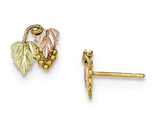 10k Tri-Color Gold Black Hills Gold Grapevine Stud Earrings (Black Hills Gold Butterfly Earrings)