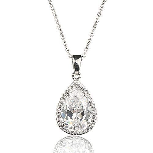 "meyome Cubic Zirconia Teardrop Pendant Necklace for Brides Wedding Jewelry Platinum Plated with Cable Chain 16.5""+2"" (Clear)"