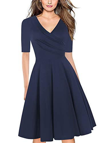 oxiuly Women's Elegant Criss-Cross Necklines V-Neck Half Sleeve Floral Casual Work Party Stretch Swing A-Line Tea Dress OX233 (XL, Nave Blue S5)