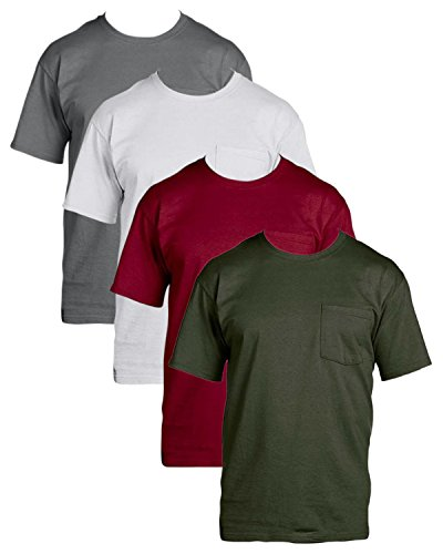 f4a8e358 Fruit of the Loom Mens 4Pack Assorted Pocket Crewneck T-Shirts Undershirts L