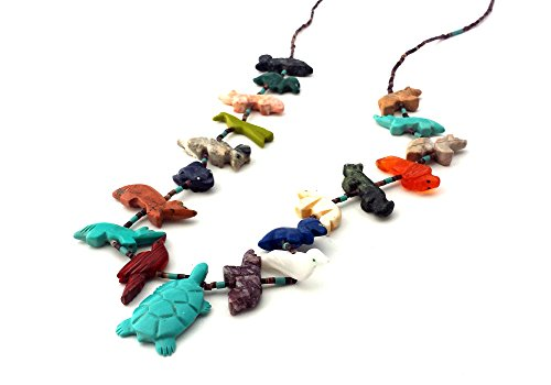Fetish Turtle - Hand Carved Single Strand Turtle with Mixed Animals Multicolored Fetish Necklace
