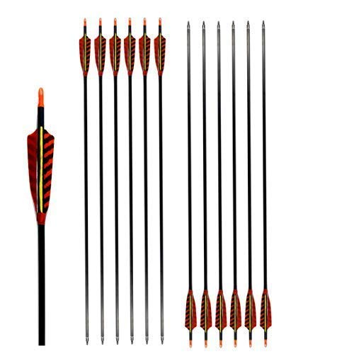 """ZHANYI Archery Arrows Hunting Carbon Fiber Shaft 600 Spine with 4""""Real Printing Turkey Feathers for Compound Recurve Bow (Pack of 6) (29 ()"""