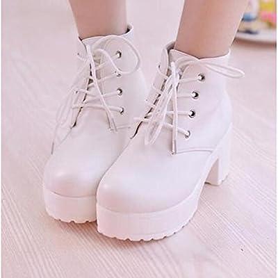 Invierno Pu Mujer Primavera Botas Chunky Confort Tacón De Zapatos 5A4j3qRL