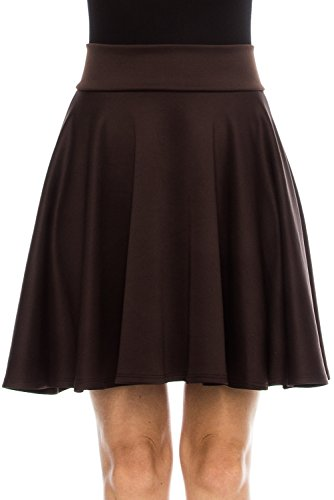 KLKD Women's KLKD Women's Basic Versatile Solid Flared Skater Skirt Made In U.S.A. (Midi) Brown Large (Brown Pleated Skirt)