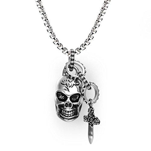 Lanroque Men's Stainless Steel Punk Rock Sword Cross Pendant Necklace 24